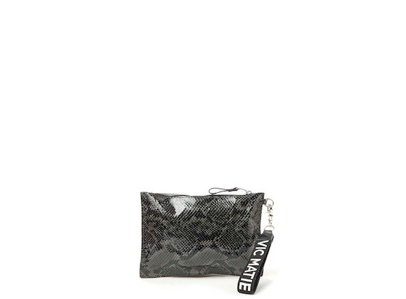 Madeline<br>Anthracite snakeskin-effect clutch