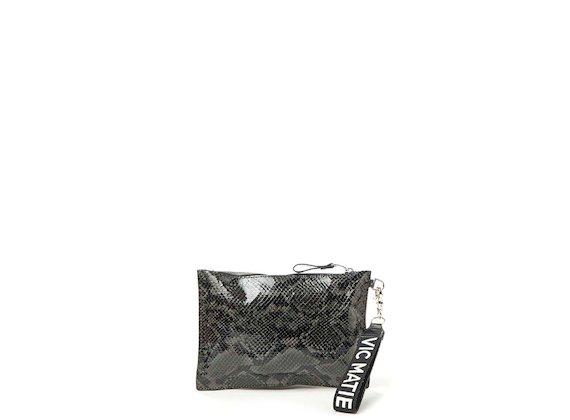 Madeline<br>Anthracite snakeskin-effect clutch
