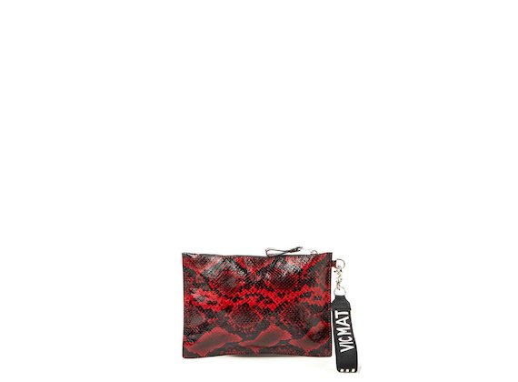 Madeline<br>Red snakeskin-effect clutch