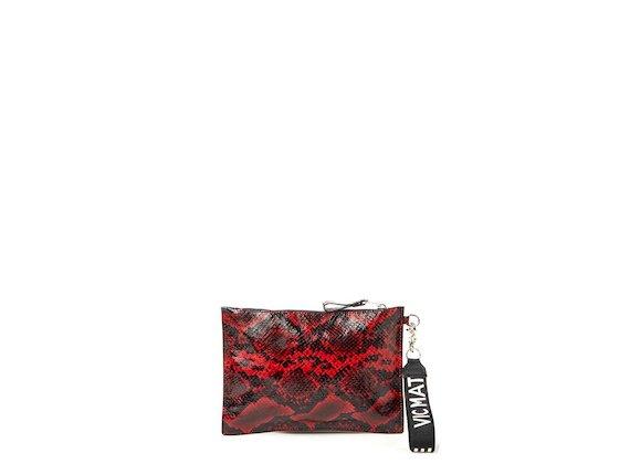 Madeline<br>Red snakeskin-effect clutch