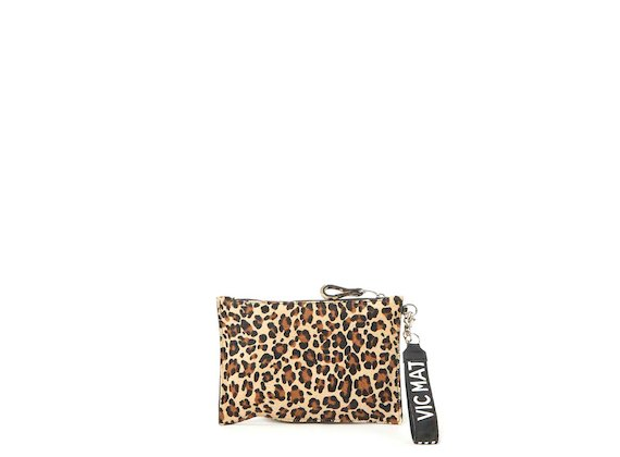 Madeline<br>Beige leopard-print clutch