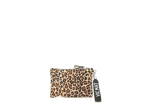 Madeline<br>Beige leopard-print clutch - Multicoloured