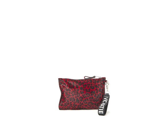 Madeline<br>Red leopard-print clutch