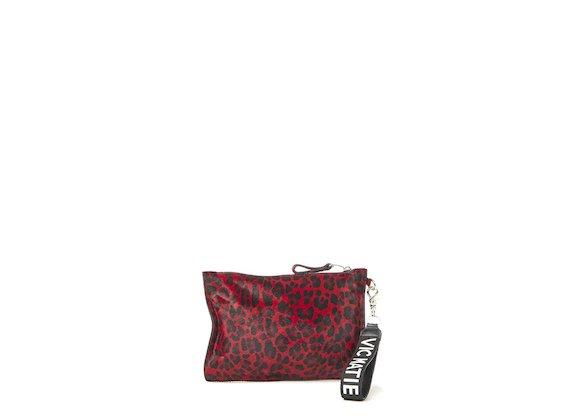 Madeline<br>Red leopard-print clutch
