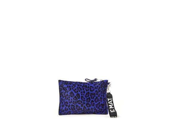 Madeline<br>Purple leopard-print clutch