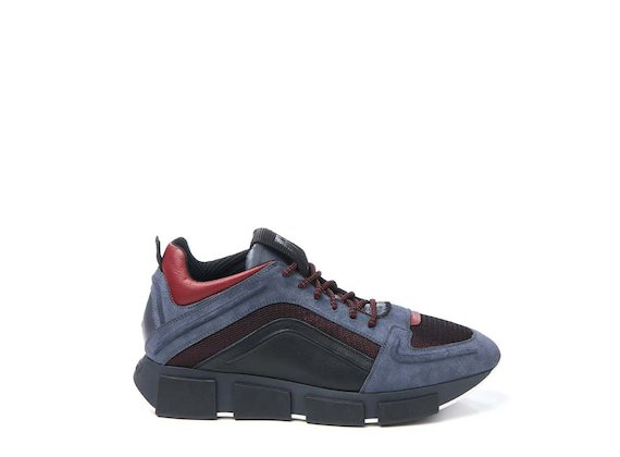 Grey and red trainer