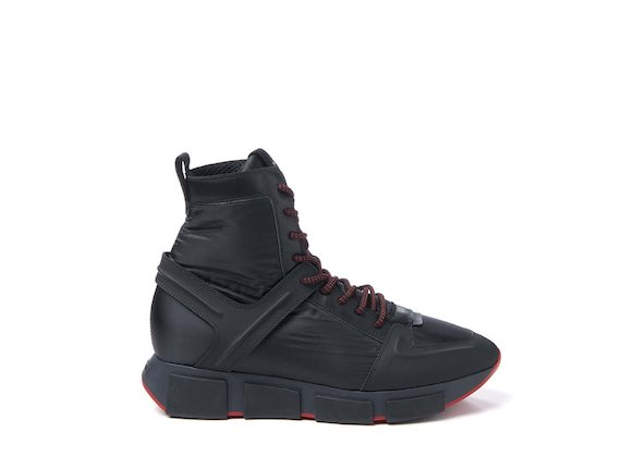 Nylon high-top trainer with contrasting sole