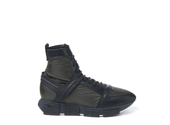 Army green nylon high-top trainer