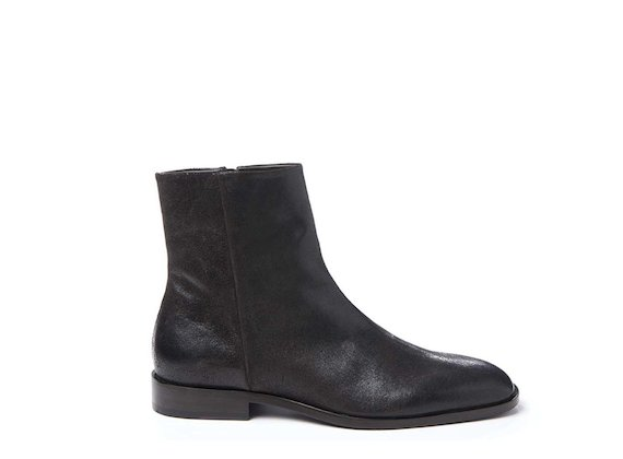 Dark brown square-toed crust leather ankle boot