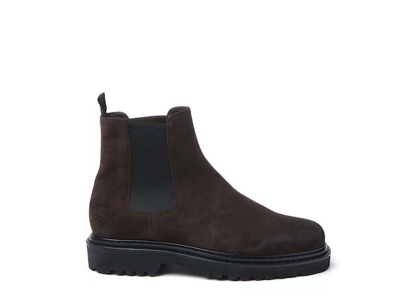 Dark brown crust leather Beatle boot