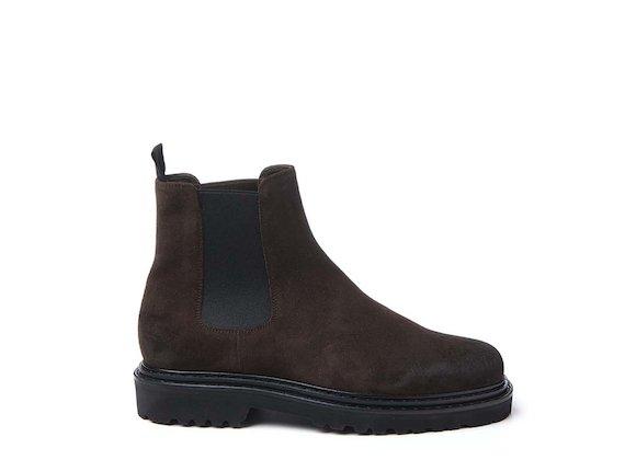 Dark brown crust leather Beatle boot