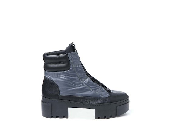 Lace-up nylon ankle boot