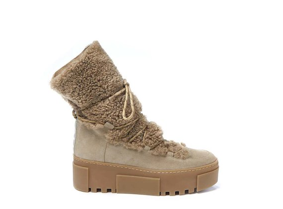Honey sheepskin lace-up mid-calf boot