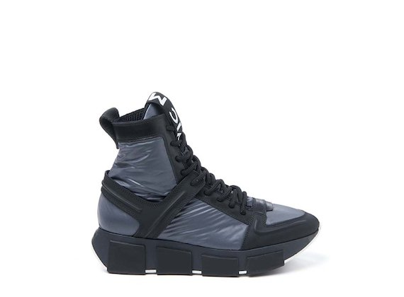 Grey nylon lace-up high-top trainer
