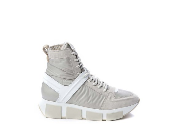 Beige nylon lace-up high-top trainer