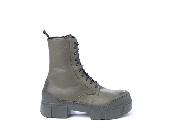 Army green leather combat boot