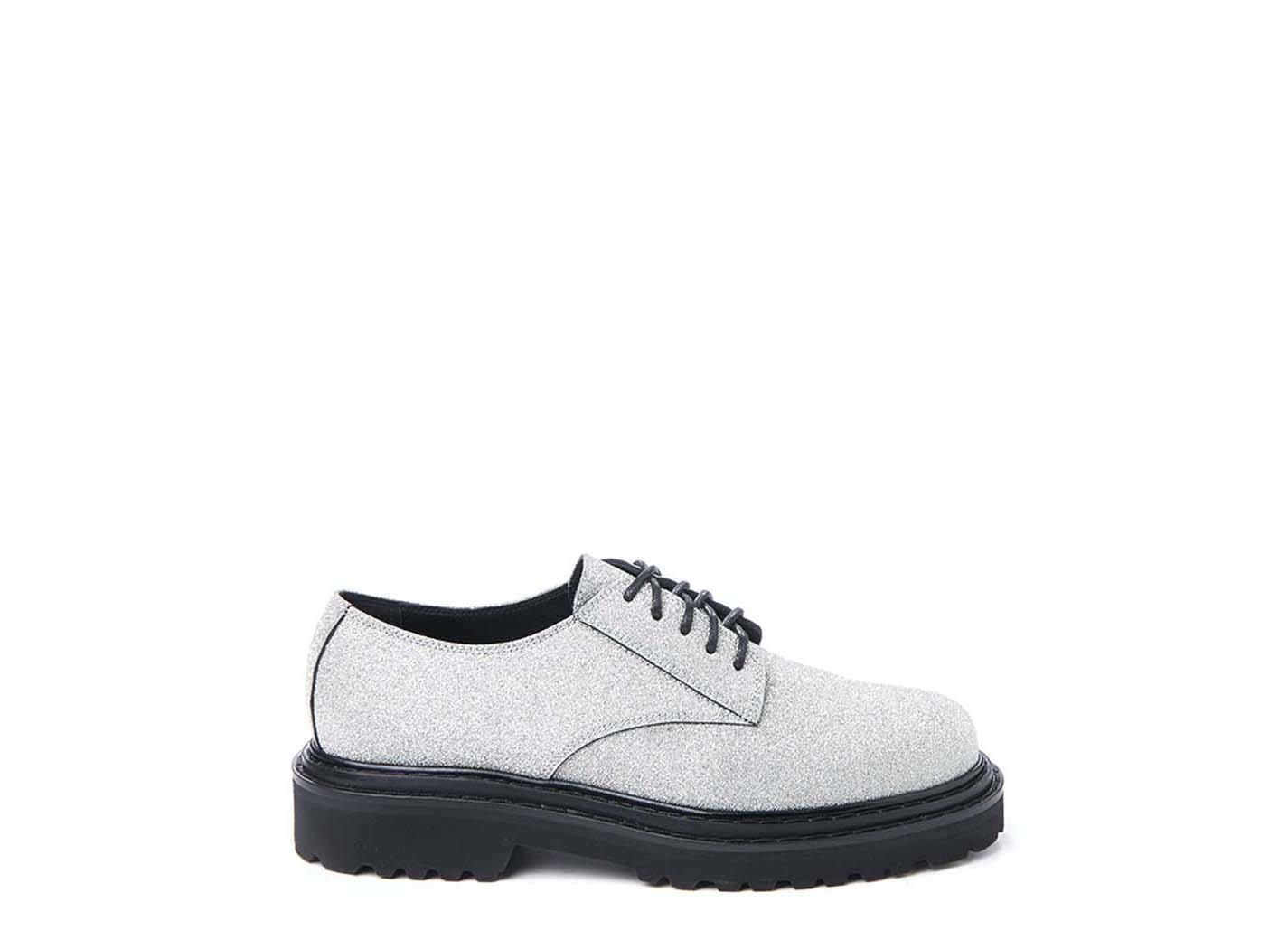 Silver glitter Derby shoe
