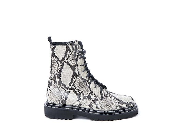 Rock snakeskin-effect leather combat boot