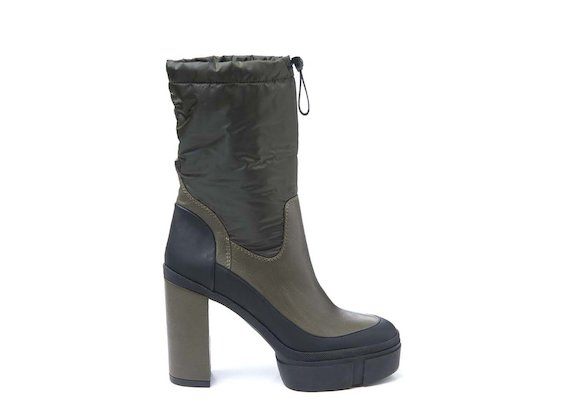 Ankle boot with drawstring and rubber platform