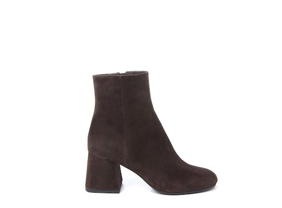 Suede ankle boot with flared heel