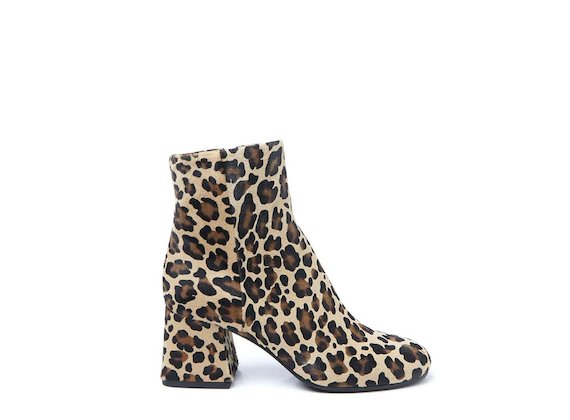 Leopard-print ankle boot with flared heel