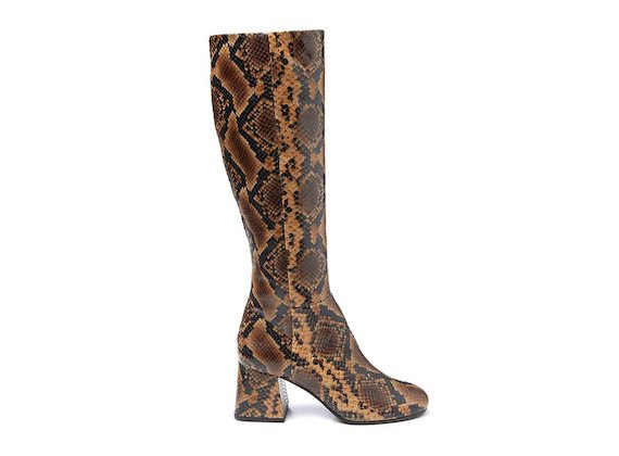 Snakeskin-effect leather boot with flared heel