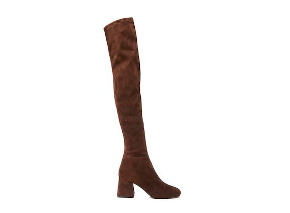 Thigh-high boot with flared heel
