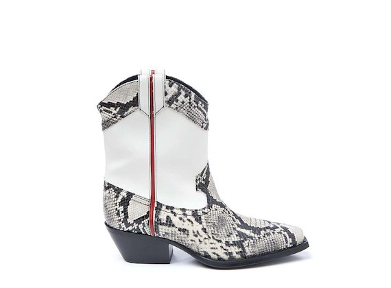 White and snakeskin-effect leather cowboy boot with trim