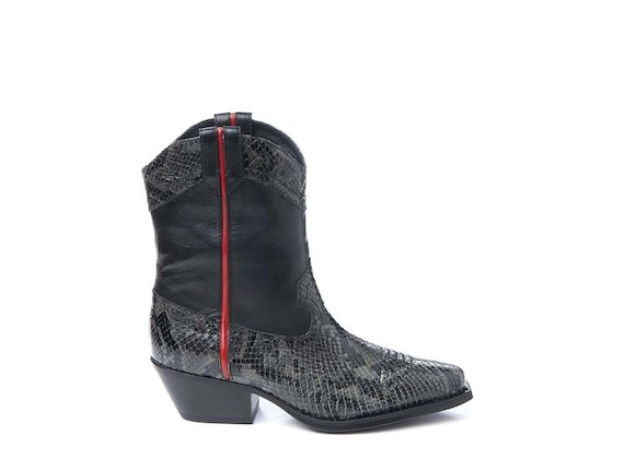 Snakeskin-effect leather cowboy boot with trim