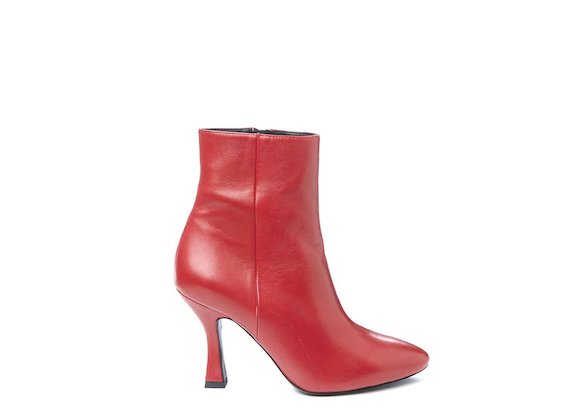 Red ankle boot with spool heel