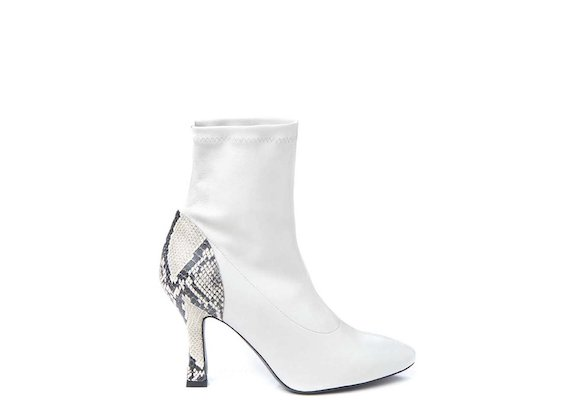 Stretch heeled ankle boot with rock snakeskin-effect heel