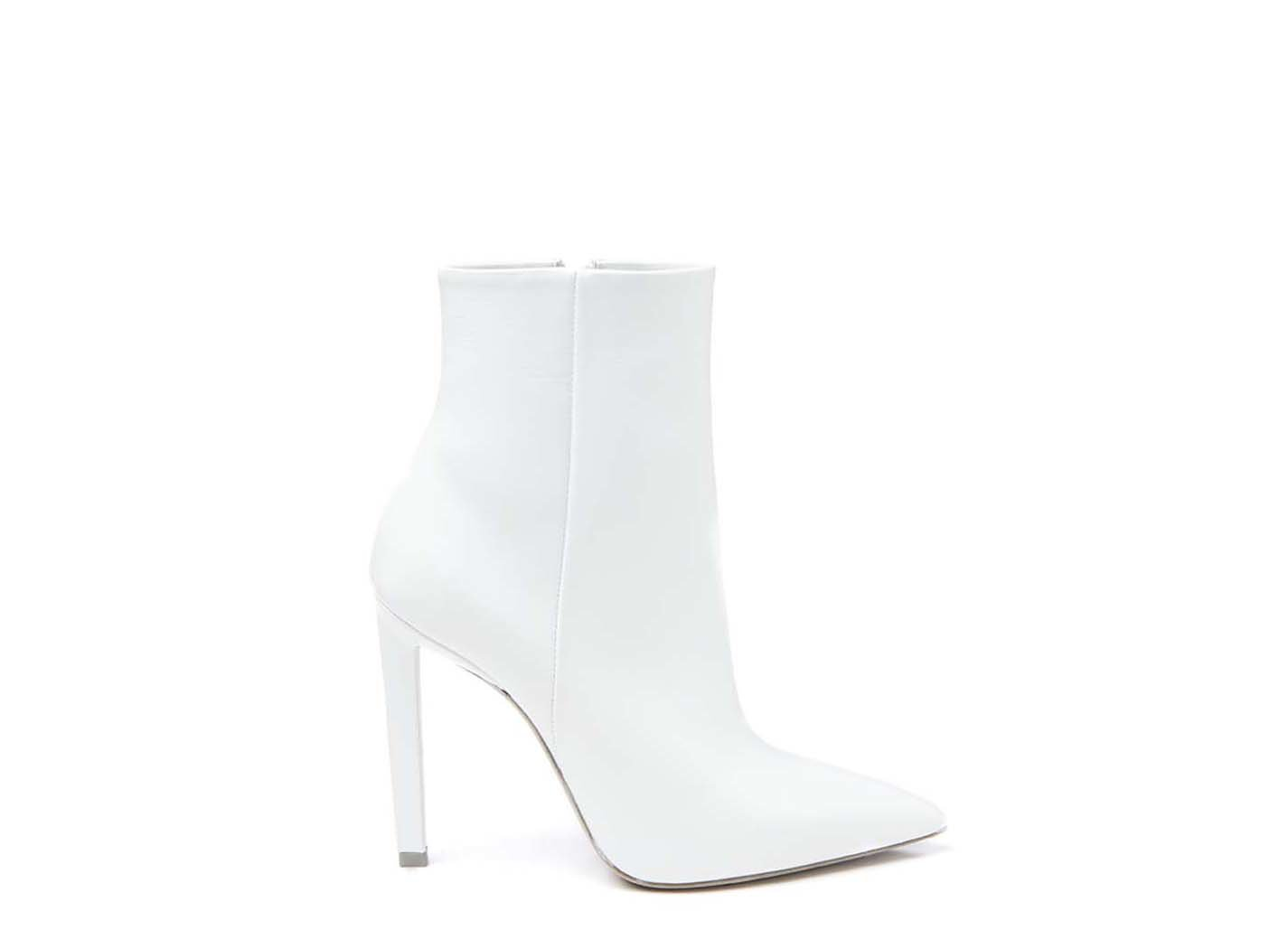 White ankle boot with stiletto heel