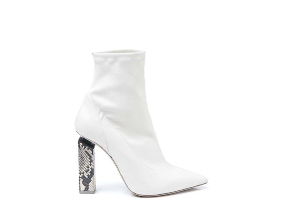 Stretch ankle boot with rock-coloured snakeskin-effect heel