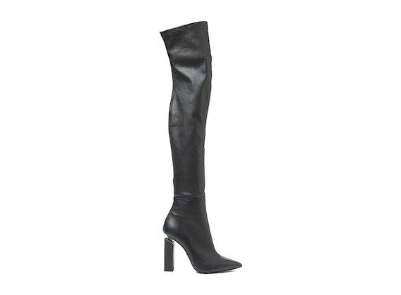 Overknee-Stiefel aus Stretchleder mit dekonstruiertem Absatz