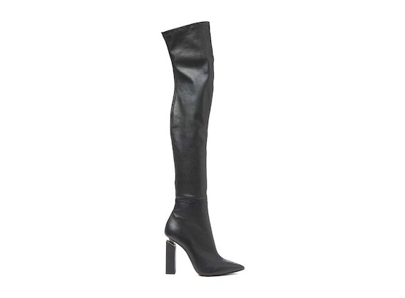 Stretch leather thigh-high boot with suspended heel