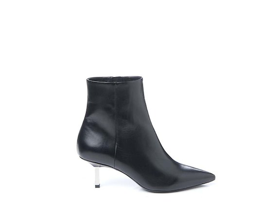 Ankle boot with metallic heel