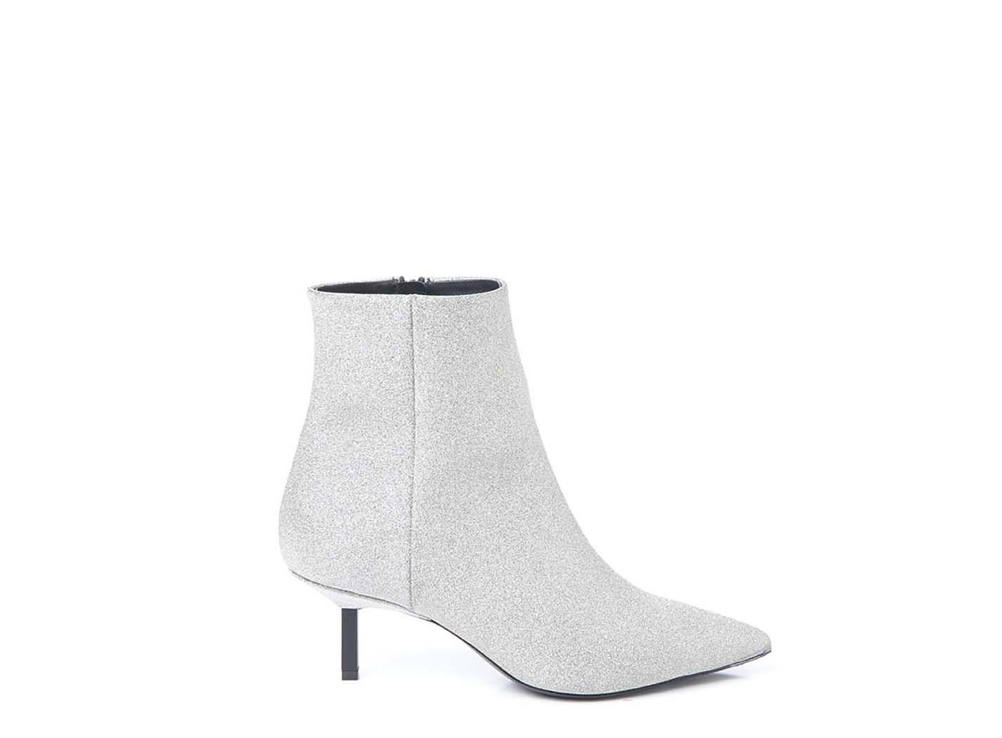 Silver glitter ankle boot with metallic