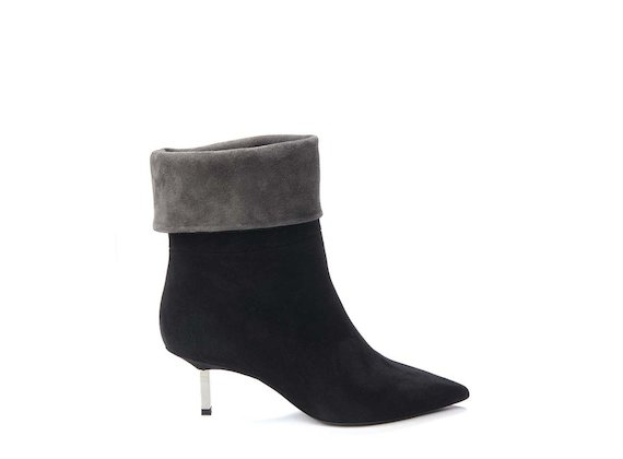 Black fold-over half boot with metallic heel