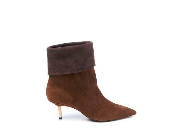 Cognac fold-over half boot with metallic heel