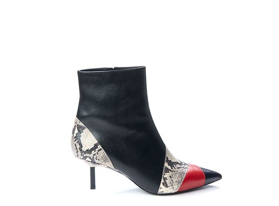 Patchwork ankle boot with metallic heel