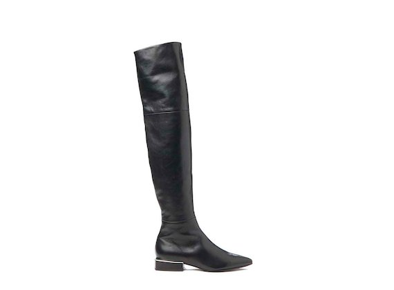 Thigh-high boot with geometric heel