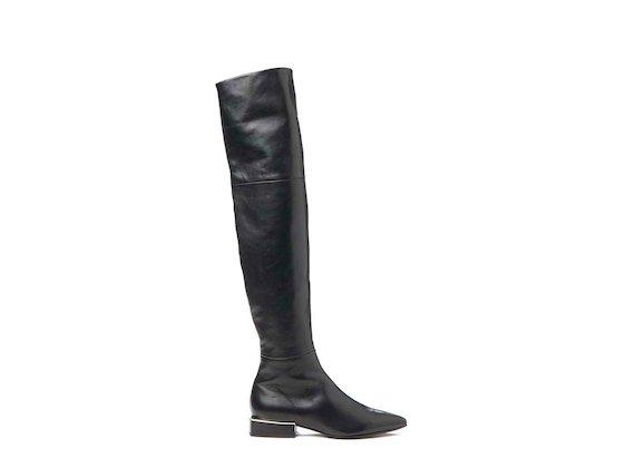 Thigh-high boot with geometric heel - Black
