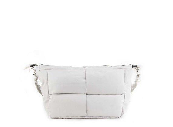 Alanis<br />Ice-white leather/nylon shoulder bag