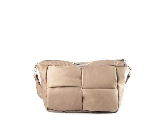 Alanis<br />Dove-grey leather/nylon shoulder bag