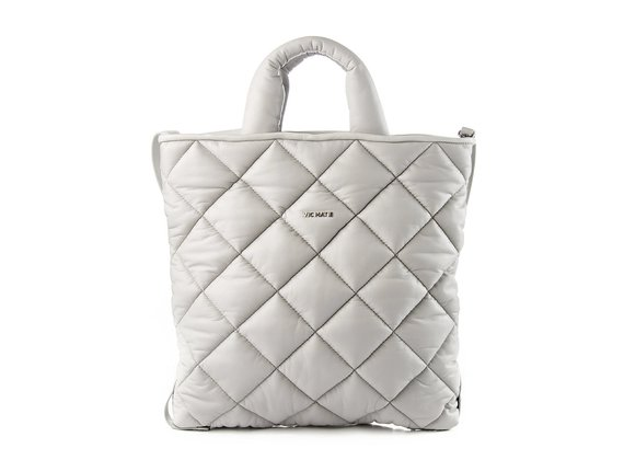 Gaia<br />Quilted ice-white leather shopper bag
