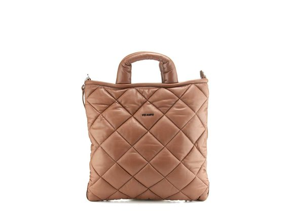 Gaia<br />Quilted brown leather shopper bag