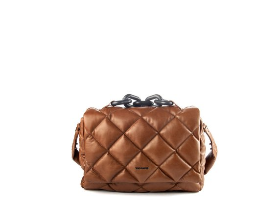 Jacqueline<br />Brown quilted leather satchel