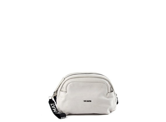 Vittoria<br />Ice-white leather pouch bag