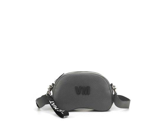 Babs Big L<br />Smog-grey leather shoulder bag