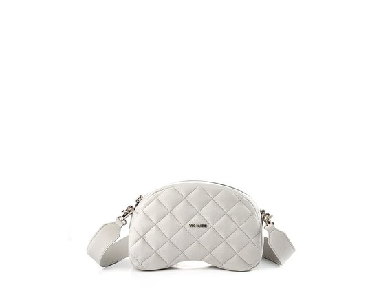 Babs Big T<br />Quilted ice-white leather shoulder bag